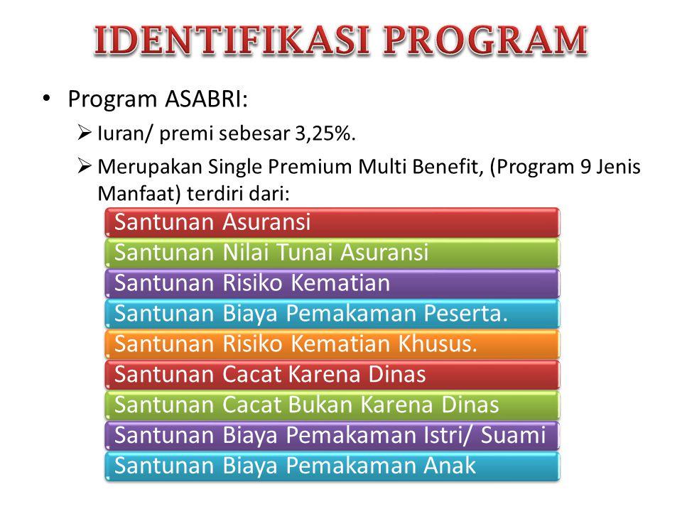 • Program ASABRI:  Iuran/ premi sebesar 3,25%.  Merupakan Single Premium Multi Benefit, (Program 9 Jenis Manfaat) terdiri dari: Santunan Asuransi Sa