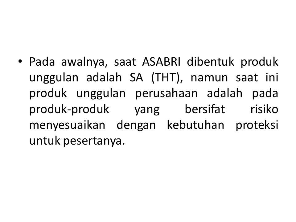 • Pada awalnya, saat ASABRI dibentuk produk unggulan adalah SA (THT), namun saat ini produk unggulan perusahaan adalah pada produk-produk yang bersifa