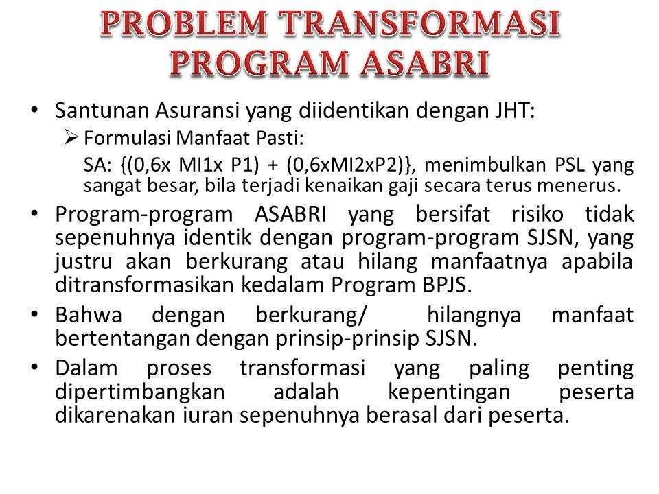 Penerapan prinsip- prinsip SJSN Identifikasi program- program ASABRI yg sesuai dengan UU SJSN, Problem pendanaan & Dampak Transformasi Asistensi terhadap Pemerintah & BPJS, terkait dengan pembentukan PP, Mekanisme Transformasi Implementasi: - Pengalihan sebagian program, - seluruh program atau dibentuk wadah tersendiri ?