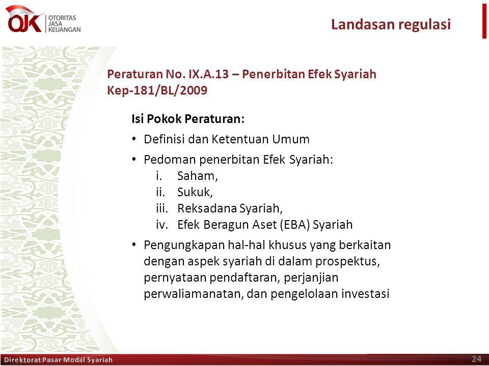 24 Isi Pokok Peraturan: • Definisi dan Ketentuan Umum • Pedoman penerbitan Efek Syariah: i.Saham, ii.Sukuk, iii.Reksadana Syariah, iv.Efek Beragun Ase