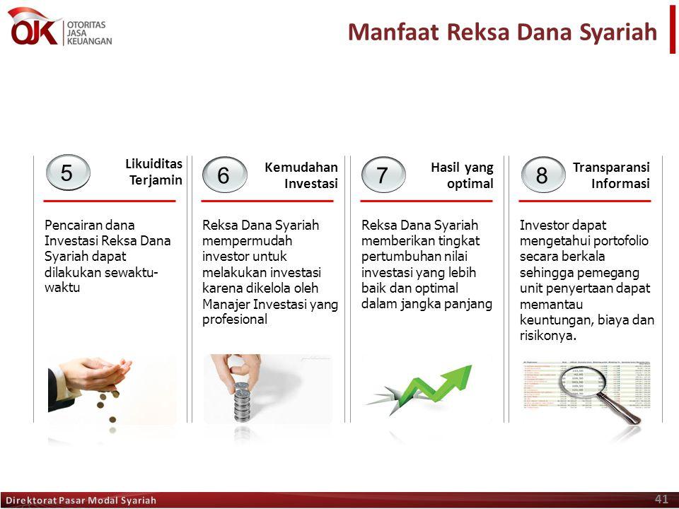 41 Manfaat Reksa Dana Syariah Kemudahan Investasi Reksa Dana Syariah mempermudah investor untuk melakukan investasi karena dikelola oleh Manajer Inves