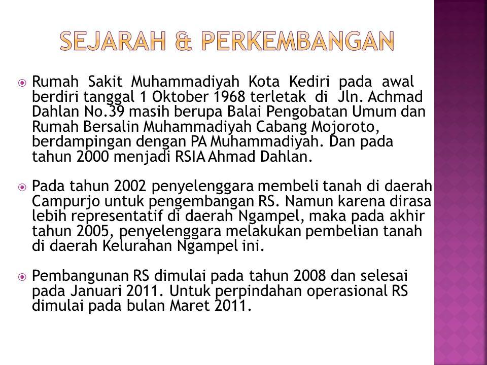  Rumah Sakit Muhammadiyah Kota Kediri pada awal berdiri tanggal 1 Oktober 1968 terletak di Jln.