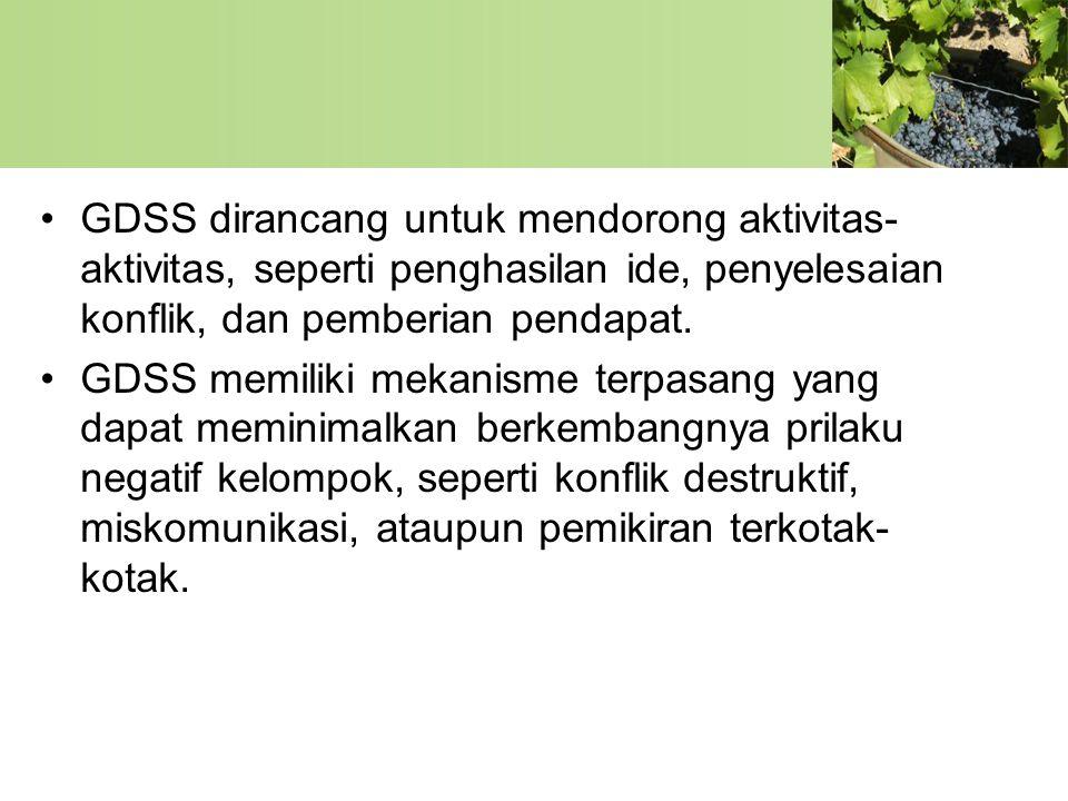 •GDSS dirancang untuk mendorong aktivitas- aktivitas, seperti penghasilan ide, penyelesaian konflik, dan pemberian pendapat. •GDSS memiliki mekanisme