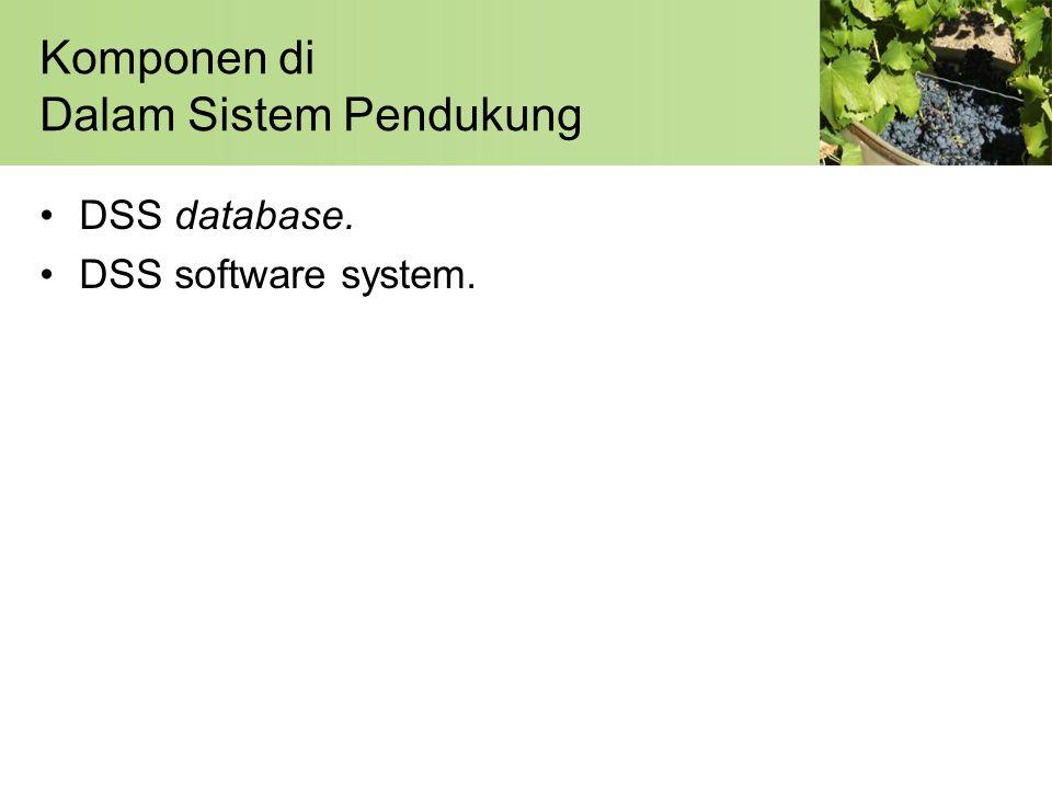 Komponen di Dalam Sistem Pendukung •DSS database. •DSS software system.