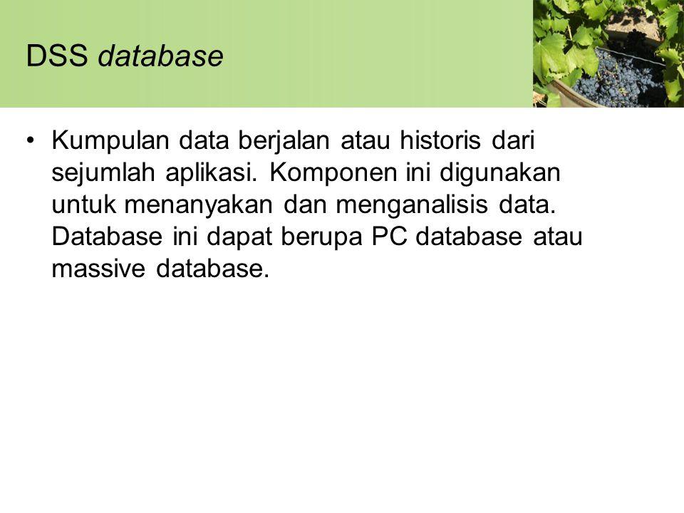 DSS database •Kumpulan data berjalan atau historis dari sejumlah aplikasi. Komponen ini digunakan untuk menanyakan dan menganalisis data. Database ini