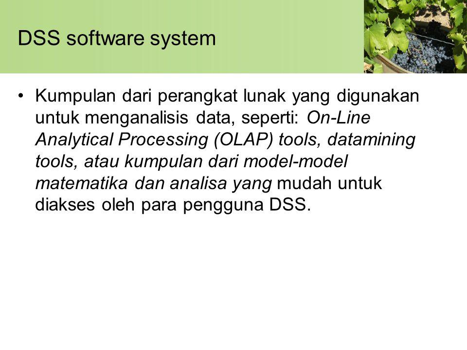 DSS software system •Kumpulan dari perangkat lunak yang digunakan untuk menganalisis data, seperti: On-Line Analytical Processing (OLAP) tools, datami