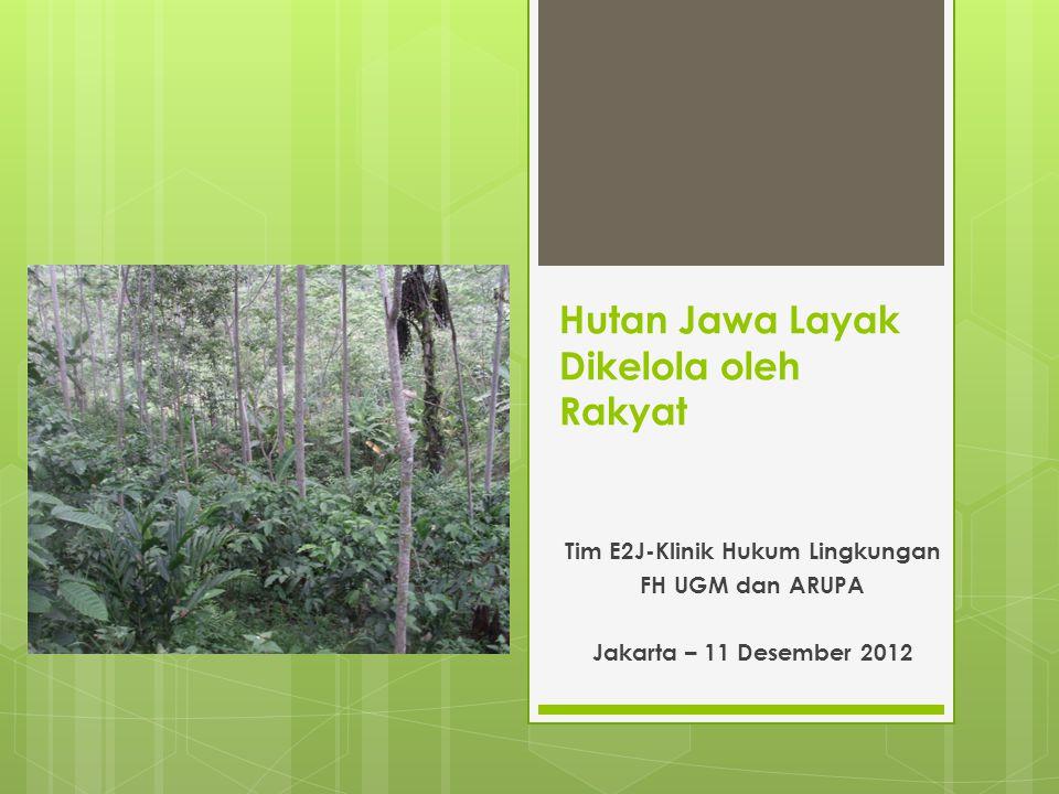 Hutan Jawa Layak Dikelola oleh Rakyat Tim E2J-Klinik Hukum Lingkungan FH UGM dan ARUPA Jakarta – 11 Desember 2012