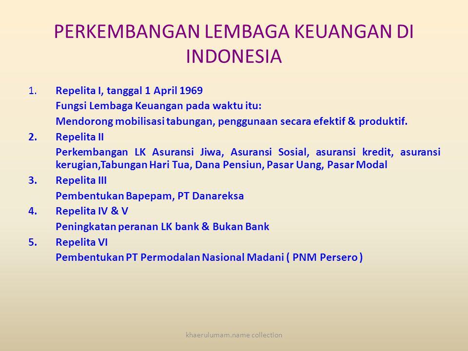 PERKEMBANGAN LEMBAGA KEUANGAN DI INDONESIA 1.Repelita I, tanggal 1 April 1969 Fungsi Lembaga Keuangan pada waktu itu: Mendorong mobilisasi tabungan, penggunaan secara efektif & produktif.