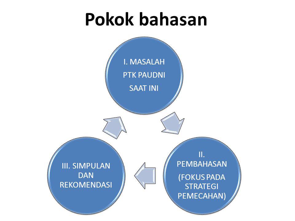 MASALAH KESEJATERAAN, PENGHARGAAN DAN PERLINDUNGAN PTK PAUDNI Akurasi data PTK (NUPTK, status, mutasi, rotasi, aktif/tdk aktif, bekerja pada lembaga terakreditasi/tdk terkareditasi) Pola rekruitmen, penempatan, diklat dan pengembangan SDM PTK pada satuan PAUDNI dan satuan programnya Standar penggajian (belum ada penggajian bersifat remuneratif atau standar dasar yg kuat dan jelas) Persepsi pendidik pada jalur formal dan nonformal dibuat berbeda (undang-undang guru dan dosen) Penghargaan dan perlindungan (status, karier dan kesamaan hak, seperti guru/tenaga kerja lain)