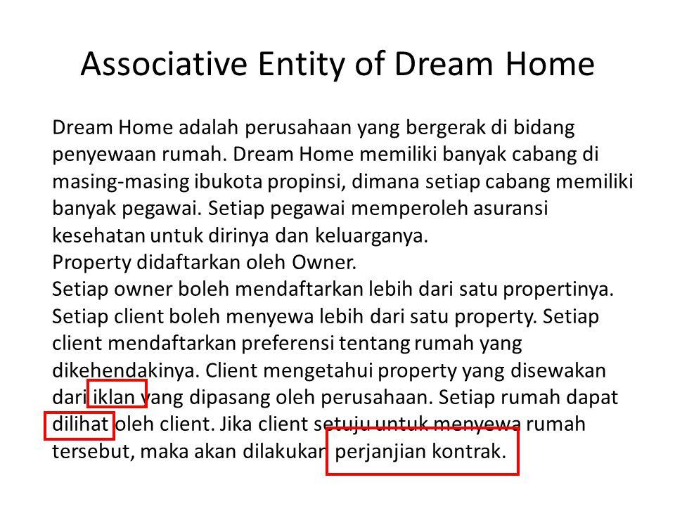 Associative Entity of Dream Home Dream Home adalah perusahaan yang bergerak di bidang penyewaan rumah. Dream Home memiliki banyak cabang di masing-mas