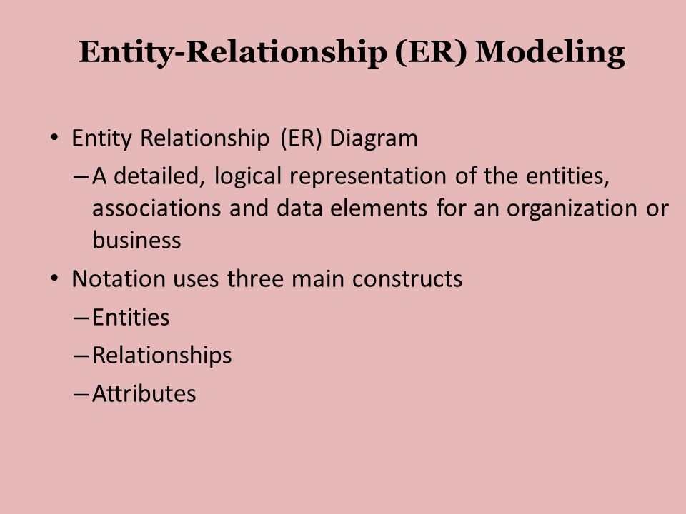 Entity-Relationship (ER) Modeling • Entity Relationship (ER) Diagram – A detailed, logical representation of the entities, associations and data elements for an organization or business • Notation uses three main constructs – Entities – Relationships – Attributes