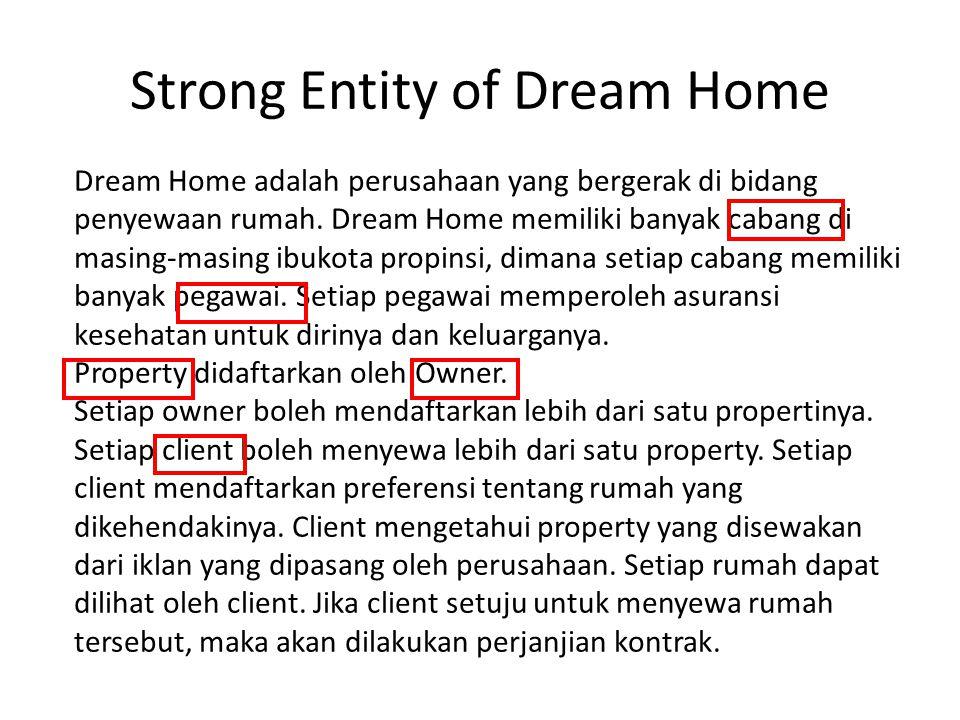 Strong Entity of Dream Home Dream Home adalah perusahaan yang bergerak di bidang penyewaan rumah. Dream Home memiliki banyak cabang di masing-masing i