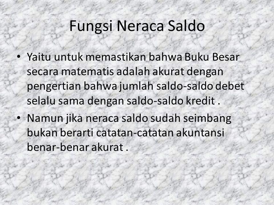 Fungsi Neraca Saldo • Yaitu untuk memastikan bahwa Buku Besar secara matematis adalah akurat dengan pengertian bahwa jumlah saldo-saldo debet selalu s