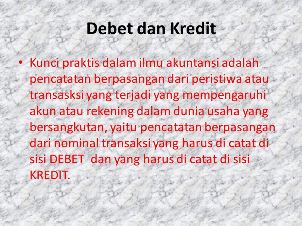 Debet dan Kredit • Kunci praktis dalam ilmu akuntansi adalah pencatatan berpasangan dari peristiwa atau transasksi yang terjadi yang mempengaruhi akun