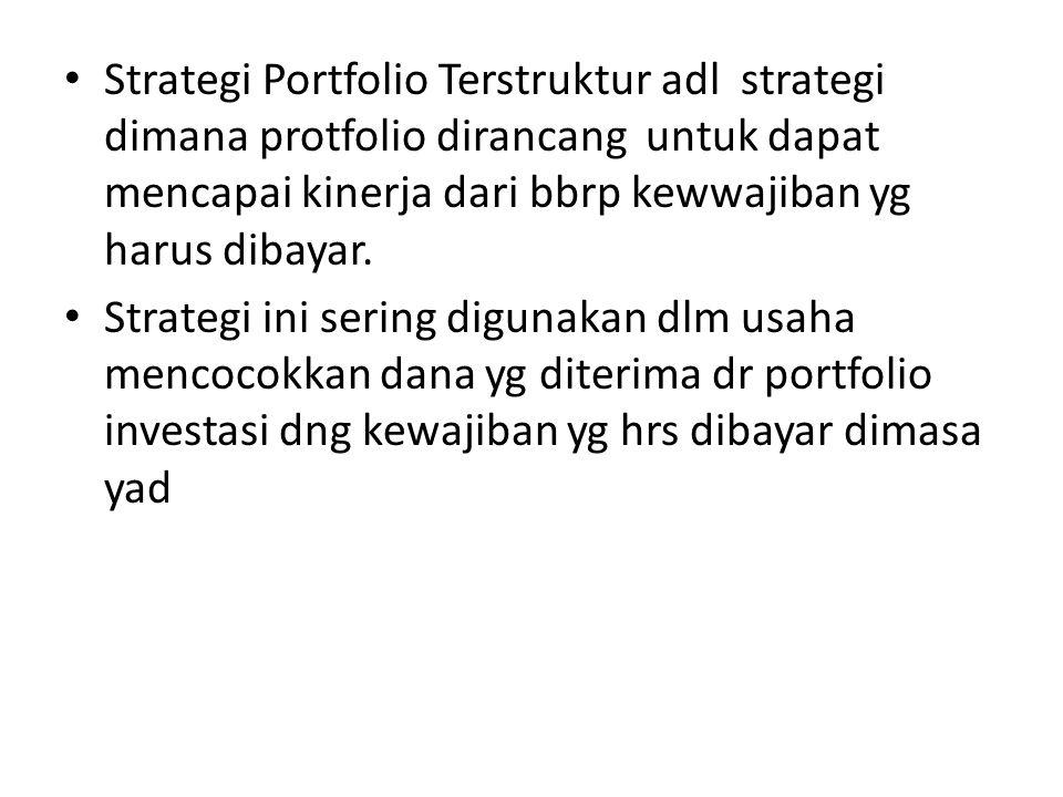 • Strategi Portfolio Terstruktur adl strategi dimana protfolio dirancang untuk dapat mencapai kinerja dari bbrp kewwajiban yg harus dibayar.