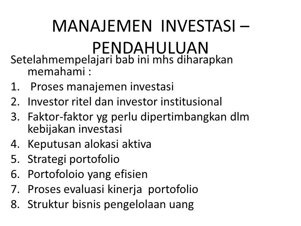MANAJEMEN INVESTASI – PENDAHULUAN Setelahmempelajari bab ini mhs diharapkan memahami : 1. Proses manajemen investasi 2.Investor ritel dan investor ins