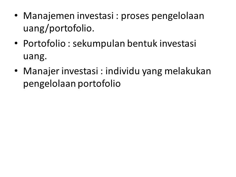 Proses Manajemen Investasi 1.Menetapkan sasaran investasi 2.Membuat kebijakan investasi 3.Memilih strategi portofolio 4.Memilih aktiva/aset 5.Mengukur dan mengevaluasi kinerja