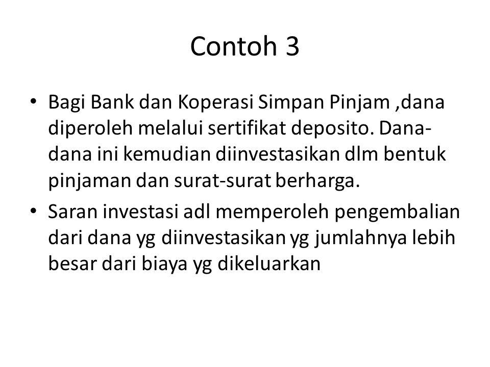 Contoh 3 • Bagi Bank dan Koperasi Simpan Pinjam,dana diperoleh melalui sertifikat deposito.