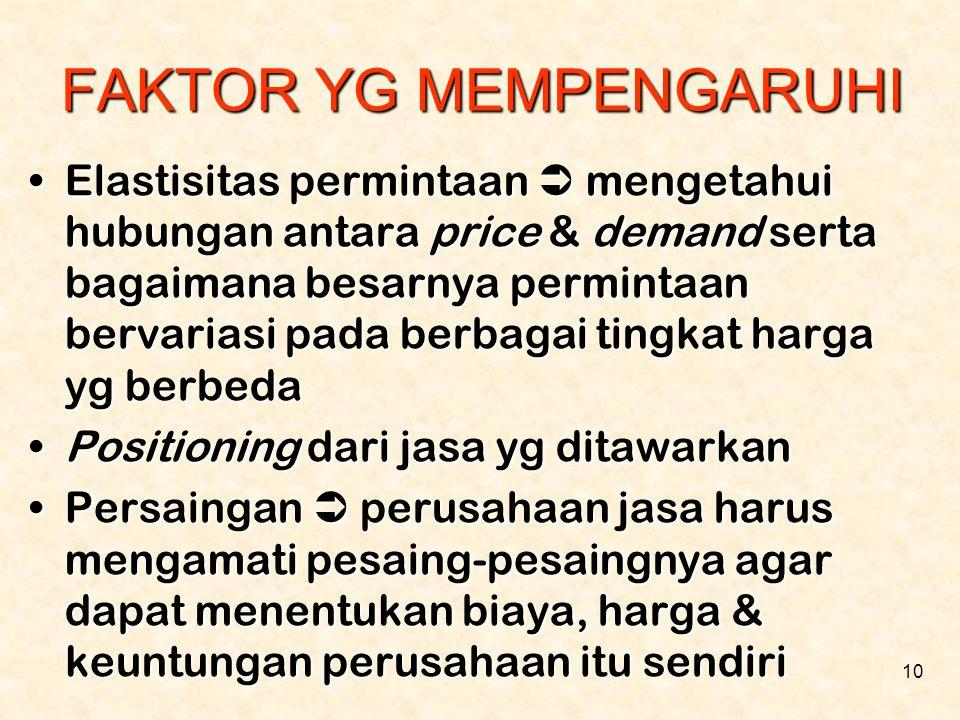 10 FAKTOR YG MEMPENGARUHI •Elastisitas permintaan  mengetahui hubungan antara price & demand serta bagaimana besarnya permintaan bervariasi pada berb