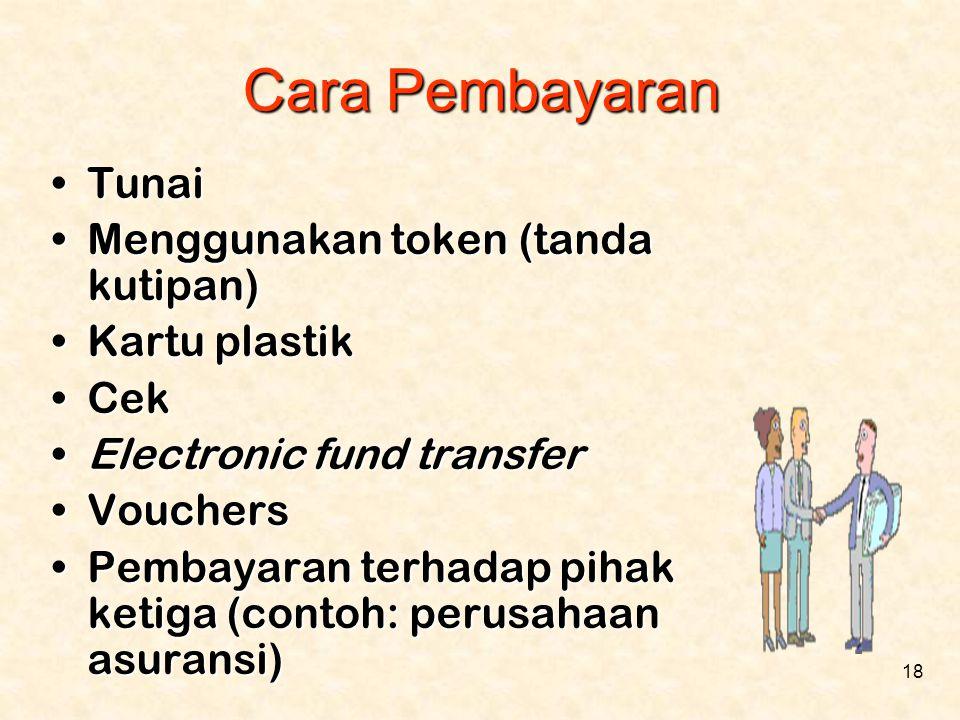 18 Cara Pembayaran •Tunai •Menggunakan token (tanda kutipan) •Kartu plastik •Cek •Electronic fund transfer •Vouchers •Pembayaran terhadap pihak ketiga