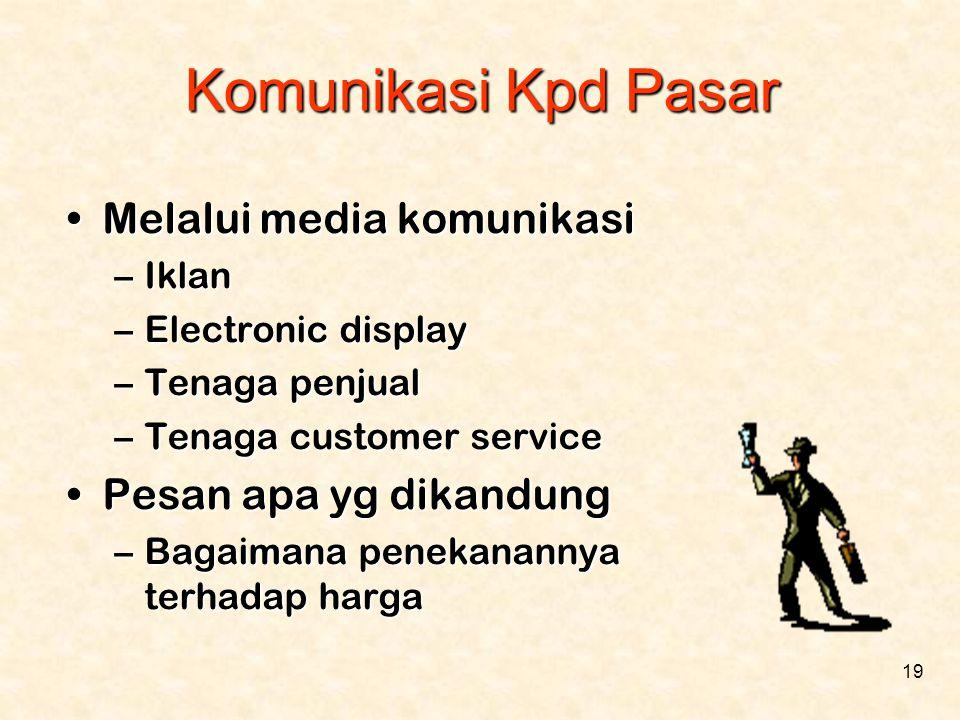 19 Komunikasi Kpd Pasar •Melalui media komunikasi –Iklan –Electronic display –Tenaga penjual –Tenaga customer service •Pesan apa yg dikandung –Bagaima