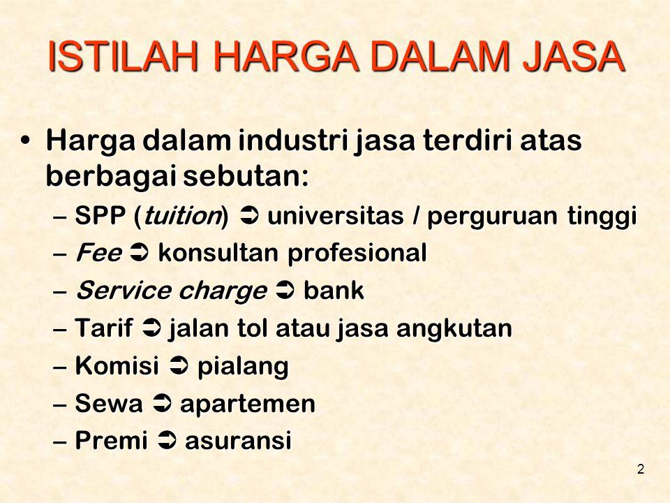 2 ISTILAH HARGA DALAM JASA •Harga dalam industri jasa terdiri atas berbagai sebutan: –SPP (tuition)  universitas / perguruan tinggi –Fee  konsultan