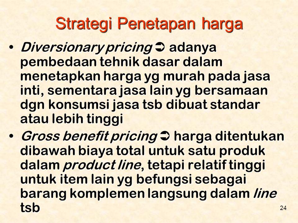 24 •Diversionary pricing  adanya pembedaan tehnik dasar dalam menetapkan harga yg murah pada jasa inti, sementara jasa lain yg bersamaan dgn konsumsi