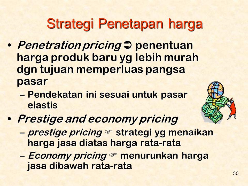 30 •Penetration pricing  penentuan harga produk baru yg lebih murah dgn tujuan memperluas pangsa pasar –Pendekatan ini sesuai untuk pasar elastis •Pr