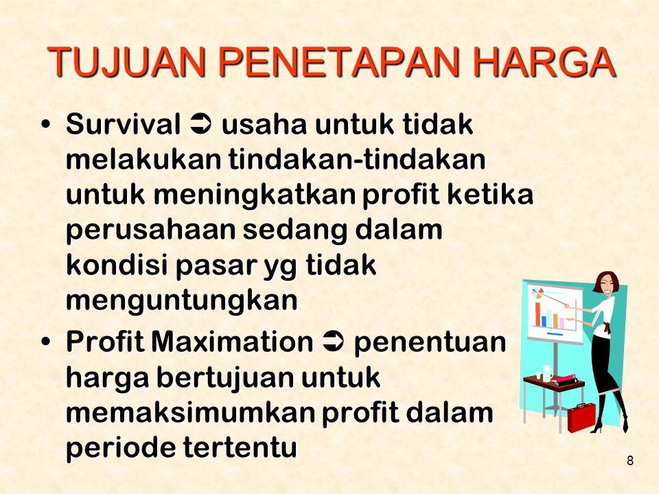 8 TUJUAN PENETAPAN HARGA •Survival  usaha untuk tidak melakukan tindakan-tindakan untuk meningkatkan profit ketika perusahaan sedang dalam kondisi pa