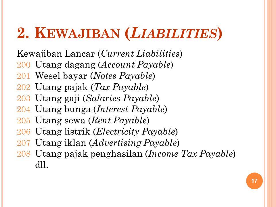 2. K EWAJIBAN ( L IABILITIES ) Kewajiban Lancar ( Current Liabilities ) 200 Utang dagang ( Account Payable ) 201 Wesel bayar ( Notes Payable ) 202 Uta