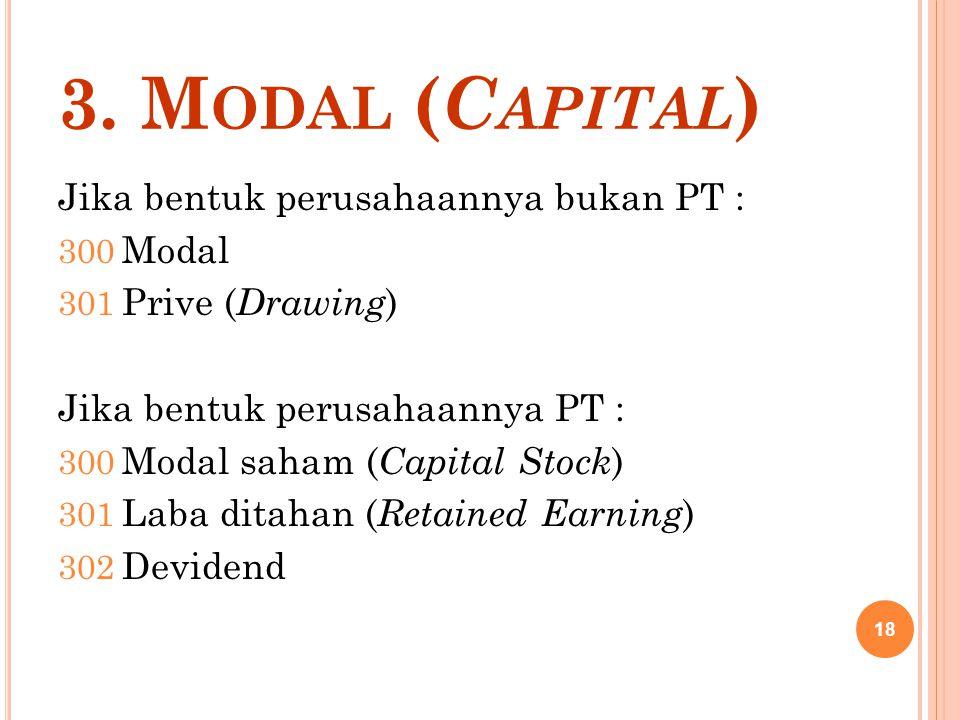 3. M ODAL ( C APITAL ) Jika bentuk perusahaannya bukan PT : 300 Modal 301 Prive ( Drawing ) Jika bentuk perusahaannya PT : 300 Modal saham ( Capital S