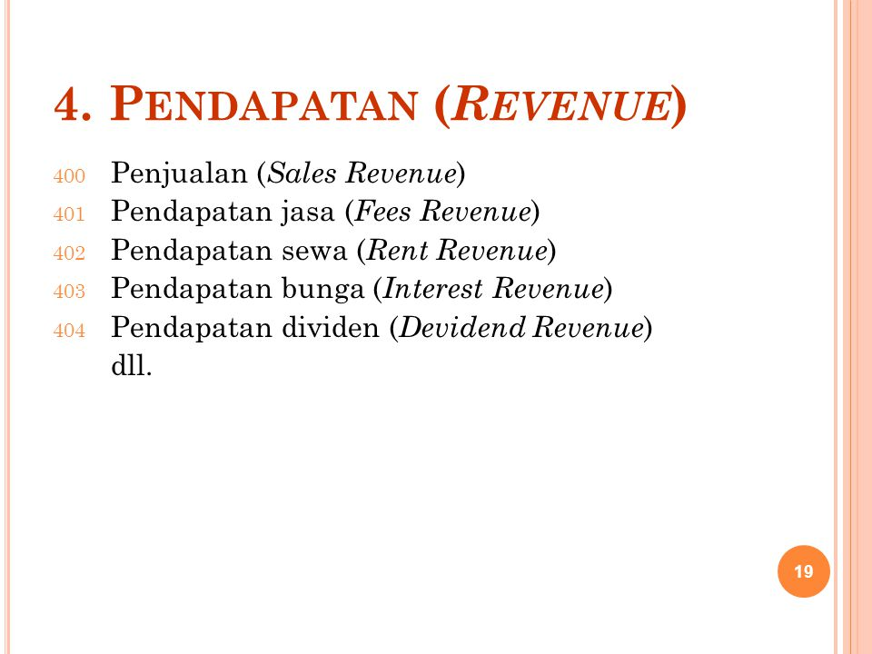 4. P ENDAPATAN ( R EVENUE ) 400 Penjualan ( Sales Revenue ) 401 Pendapatan jasa ( Fees Revenue ) 402 Pendapatan sewa ( Rent Revenue ) 403 Pendapatan b
