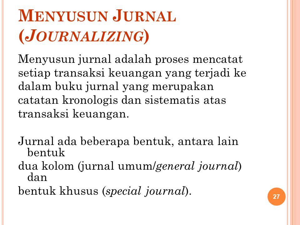 M ENYUSUN J URNAL ( J OURNALIZING ) Menyusun jurnal adalah proses mencatat setiap transaksi keuangan yang terjadi ke dalam buku jurnal yang merupakan
