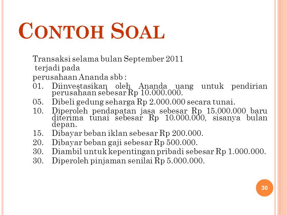 C ONTOH S OAL Transaksi selama bulan September 2011 terjadi pada perusahaan Ananda sbb : 01.Diinvestasikan oleh Ananda uang untuk pendirian perusahaan