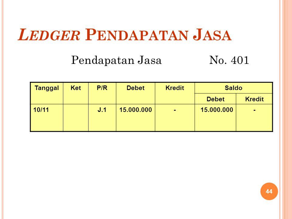 L EDGER P ENDAPATAN J ASA Pendapatan Jasa No. 401 44 TanggalKetP/RDebetKreditSaldo DebetKredit 10/11J.115.000.000- -