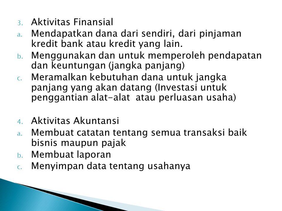 3. Aktivitas Finansial a. Mendapatkan dana dari sendiri, dari pinjaman kredit bank atau kredit yang lain. b. Menggunakan dan untuk memperoleh pendapat