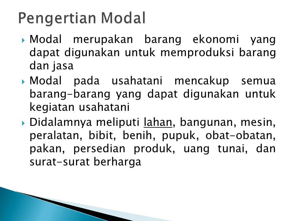  Modal merupakan barang ekonomi yang dapat digunakan untuk memproduksi barang dan jasa  Modal pada usahatani mencakup semua barang-barang yang dapat