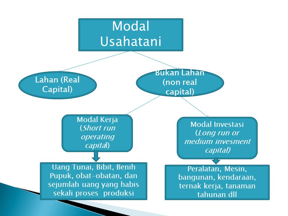 Modal Usahatani Lahan (Real Capital) Bukan Lahan (non real capital) Modal Kerja (Short run operating capital) Modal Investasi (Long run or medium inve