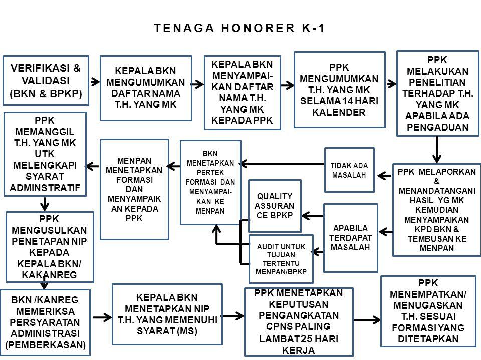 TENAGA HONORER K-1 VERIFIKASI & VALIDASI (BKN & BPKP) KEPALA BKN MENGUMUMKAN DAFTAR NAMA T.H. YANG MK KEPALA BKN MENYAMPAI- KAN DAFTAR NAMA T.H. YANG