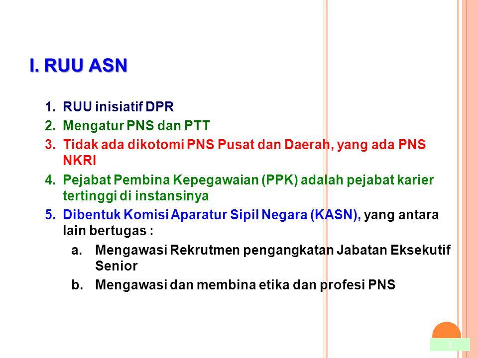 I.RUU ASN 1.RUU inisiatif DPR 2.Mengatur PNS dan PTT 3.Tidak ada dikotomi PNS Pusat dan Daerah, yang ada PNS NKRI 4.Pejabat Pembina Kepegawaian (PPK)