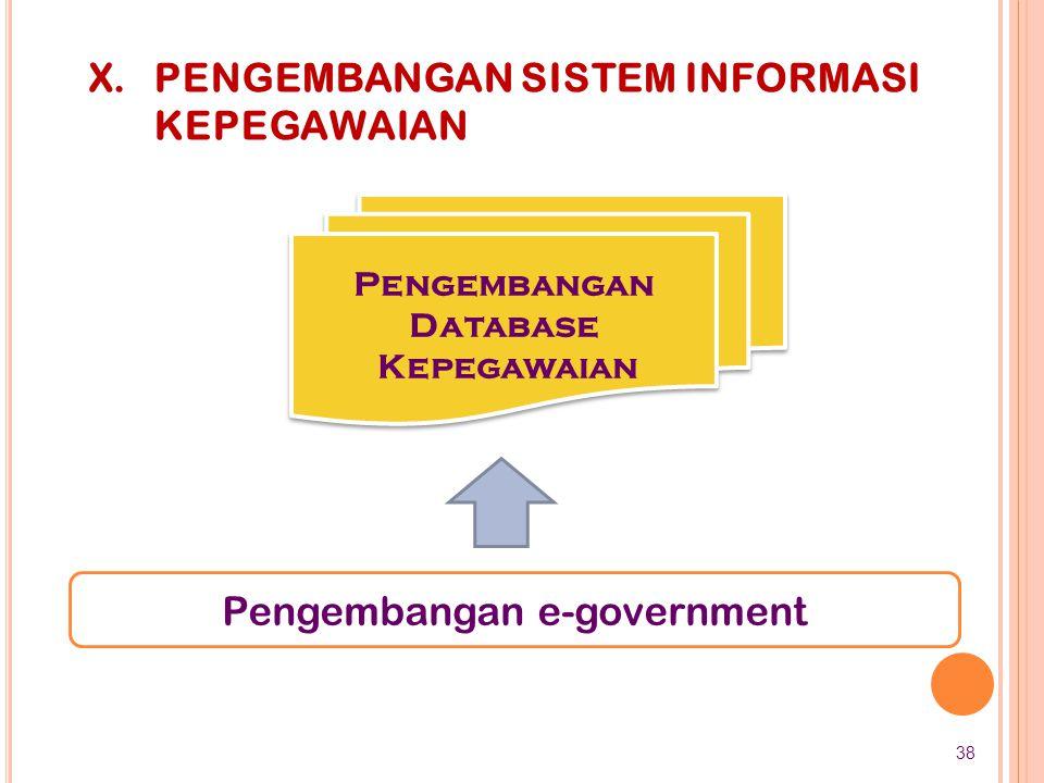 Pengembangan e-government X.PENGEMBANGAN SISTEM INFORMASI KEPEGAWAIAN Pengembangan Database Kepegawaian Pengembangan Database Kepegawaian 38