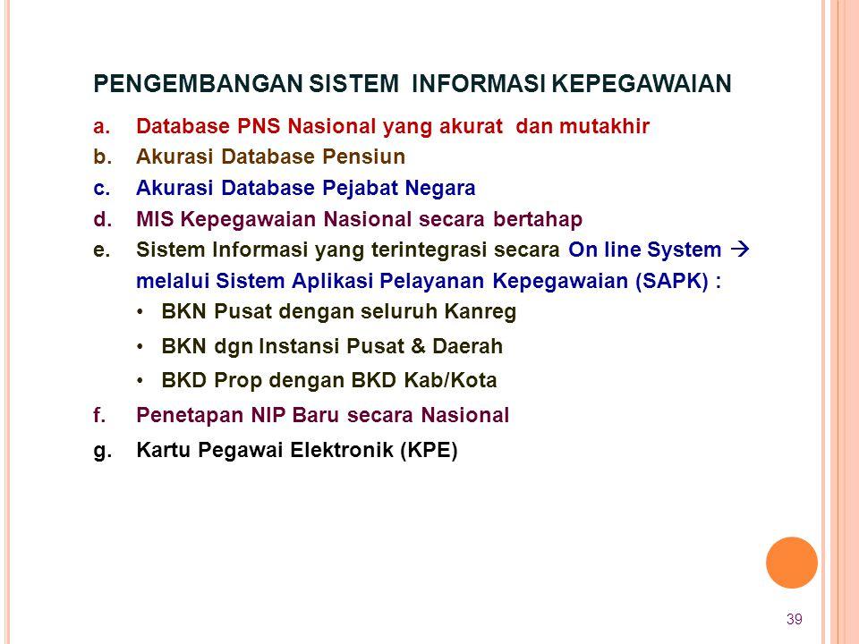 a.Database PNS Nasional yang akurat dan mutakhir b.Akurasi Database Pensiun c.Akurasi Database Pejabat Negara d.MIS Kepegawaian Nasional secara bertah