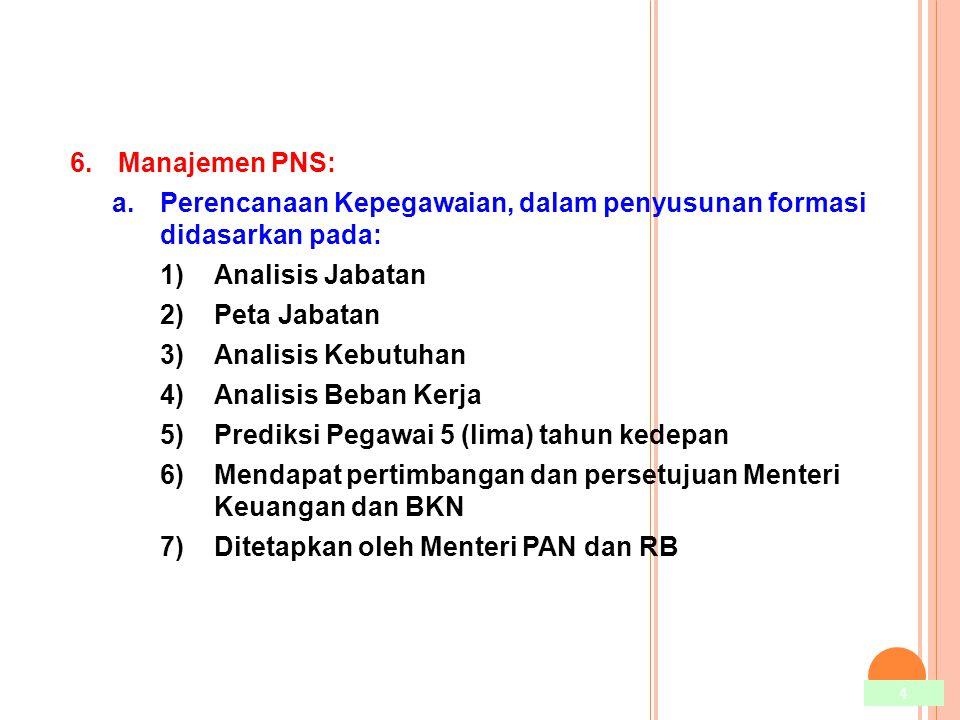 4 6.Manajemen PNS: a.Perencanaan Kepegawaian, dalam penyusunan formasi didasarkan pada: 1)Analisis Jabatan 2)Peta Jabatan 3)Analisis Kebutuhan 4)Anali