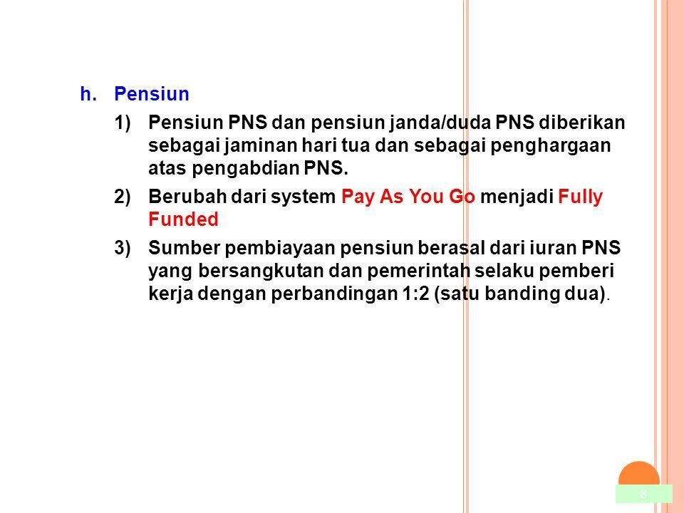8 h.Pensiun 1)Pensiun PNS dan pensiun janda/duda PNS diberikan sebagai jaminan hari tua dan sebagai penghargaan atas pengabdian PNS. 2)Berubah dari sy