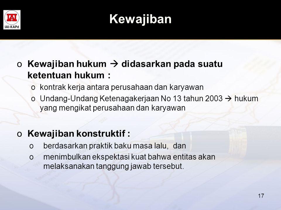 Kewajiban oKewajiban hukum  didasarkan pada suatu ketentuan hukum : okontrak kerja antara perusahaan dan karyawan oUndang-Undang Ketenagakerjaan No 1