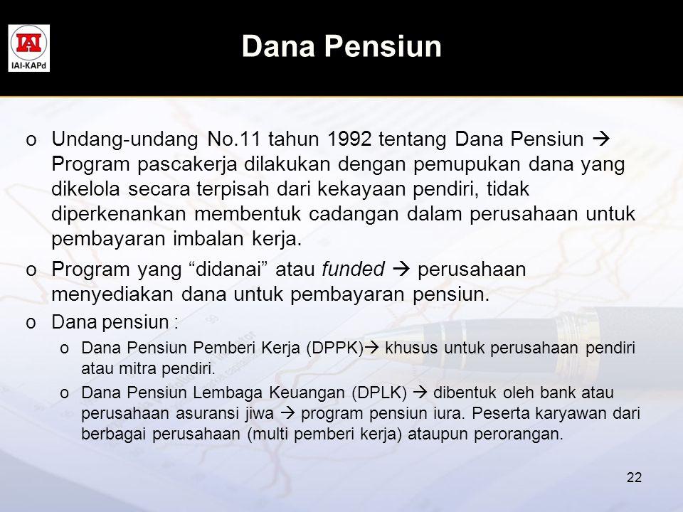 Dana Pensiun oUndang-undang No.11 tahun 1992 tentang Dana Pensiun  Program pascakerja dilakukan dengan pemupukan dana yang dikelola secara terpisah d
