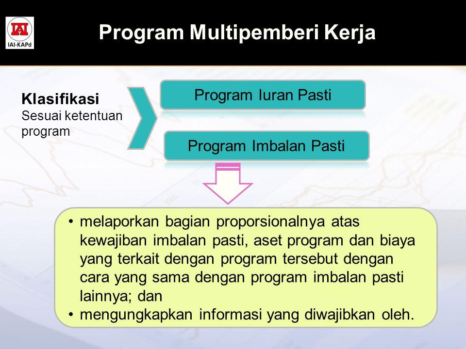 Program Multipemberi Kerja Klasifikasi Sesuai ketentuan program •melaporkan bagian proporsionalnya atas kewajiban imbalan pasti, aset program dan biay