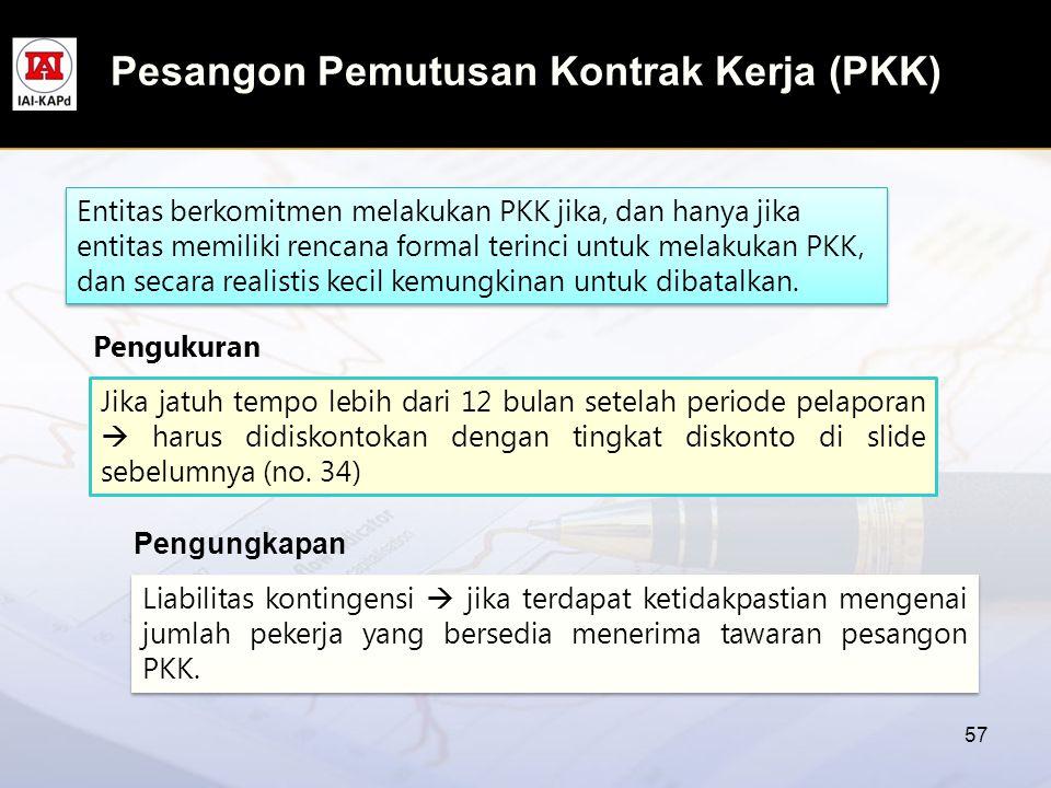 Pesangon Pemutusan Kontrak Kerja (PKK) 57 Entitas berkomitmen melakukan PKK jika, dan hanya jika entitas memiliki rencana formal terinci untuk melakuk