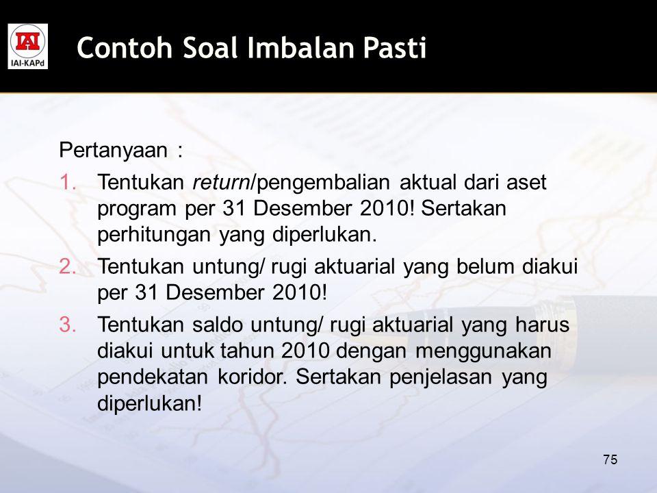 75 Pertanyaan : 1.Tentukan return/pengembalian aktual dari aset program per 31 Desember 2010! Sertakan perhitungan yang diperlukan. 2.Tentukan untung/