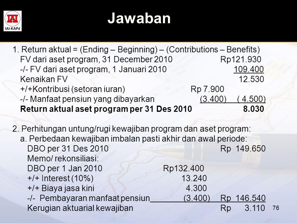 Jawaban 76 1. Return aktual = (Ending – Beginning) – (Contributions – Benefits) FV dari aset program, 31 December 2010 Rp121.930 -/- FV dari aset prog